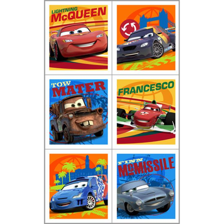 Disney cars stickers bring even more fun to the disney cars 2 themed birthday party each package contains 4 sheets of disney cars 2 stickers