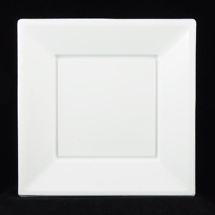 Please Note These square white plastic plates are a one time use disposable product and are thinner than our standard product. Not intended for buffet use. & Square White Dinner Plates | Square White Plastic Plates