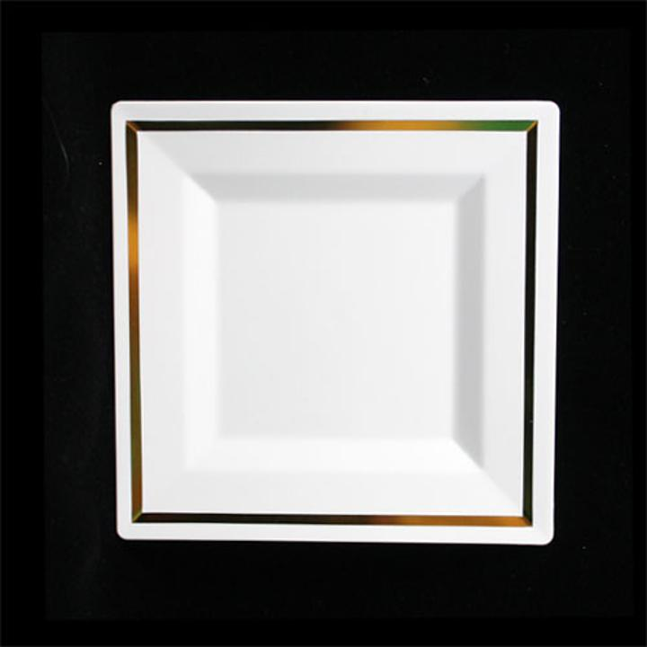 White/ Gold Square Plates (10)  sc 1 st  Factory Direct Party & Cheap White Square Plates Wholesale | White Plastic Square Plates
