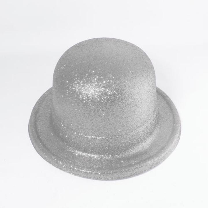 62a2d9090950f Silver Glitter Tall Bowler Hat