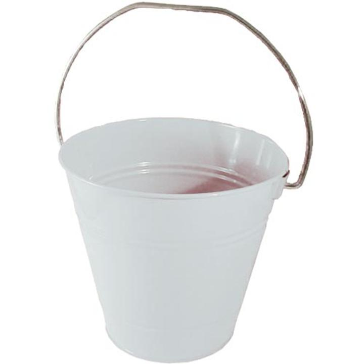 Decorative Metal Bucket Solid White