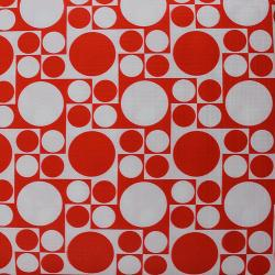 circle pattern flannel backed table cover - Vinyl Tablecloths