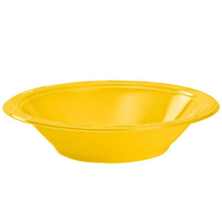 12 Oz. Yellow Plastic Bowls - 12 Ct.